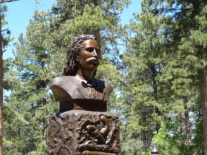Wild Bill Hickok statue at his resting place on Mt Moriah